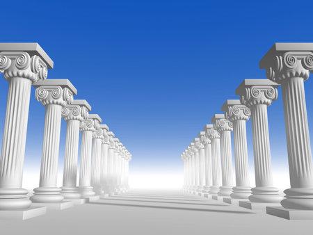 columnas romanas: Conceptual i�nicos al estilo de la arquitectura griega - 3d hacer