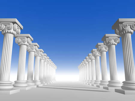 pillars: Conceptual ionic-style Greek architecture - 3d render Stock Photo