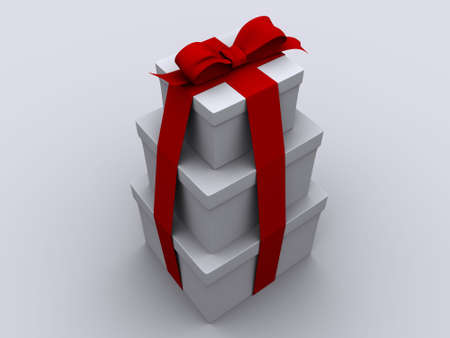 A red and a white present box wit bow - 3d render photo
