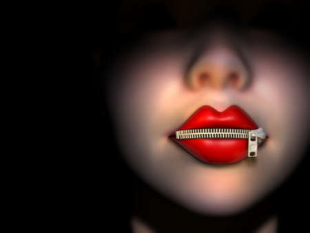 closed mouth: Conceptual women lips closed with zipper - focus on lips - 3d render