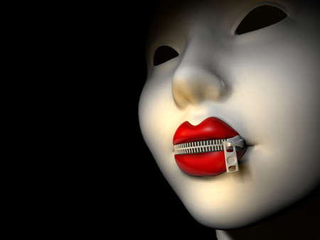 censoring: Conceptual women lips closed with zipper - focus on lips - 3d render
