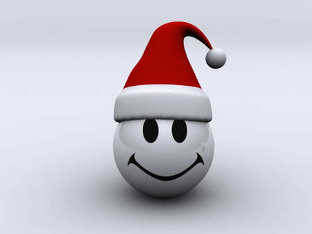 jaunty: A conceptual smiling face with santa hat - rendered in 3d