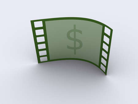 increment: A conceptual strip film frame with American dollar mark - 3d render