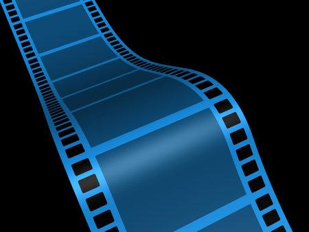 A conceptual strip film on black background - 3d render photo