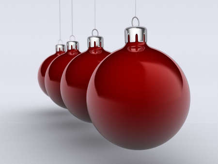 Four Christmas red ornament on white background - rendered in 3d photo