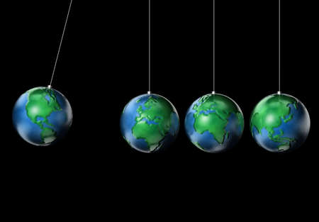 poise: Conceptual maped with different continents Earth planets swinging  - 3d render