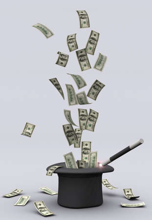 increment: American dollars blanching from a magic hat - 3d render