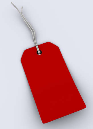 A red gift tag with rope on white background - 3d render Stock Photo - 1991572