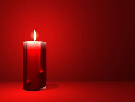 passionately: A red candle on simple red background -renderend in 3d Stock Photo
