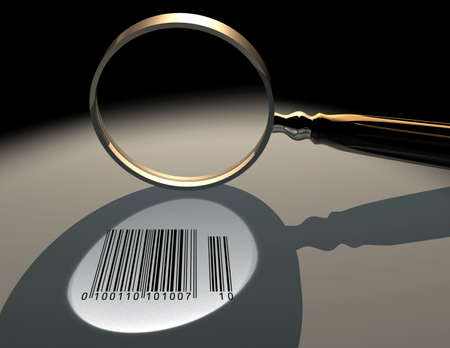 Conceptual magnifying glassand a barcode - 3d render photo