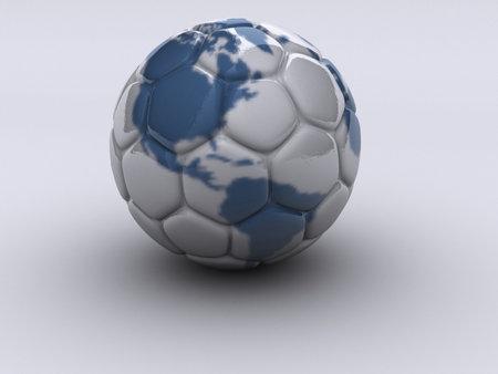 continente americano: Bal�n de f�tbol con el continente americano - dictada en 3D
