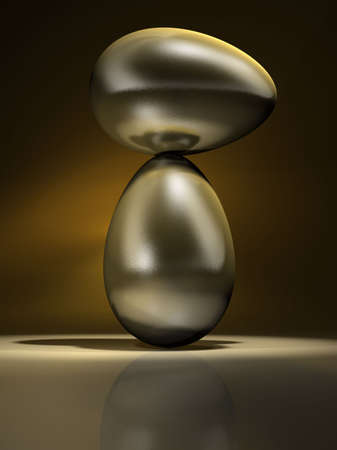 poise: Two conceptual golden egg in equilibrium - rendered in 3d