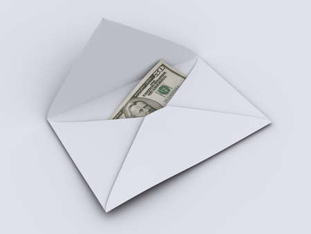 remit: A simple envelope on with american dollar inside - rendered in 3d