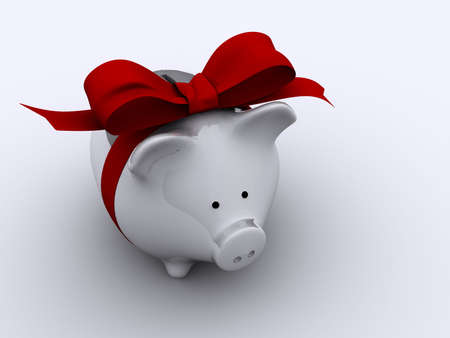 increment: White piggy bank with red bow - rendered in 3d