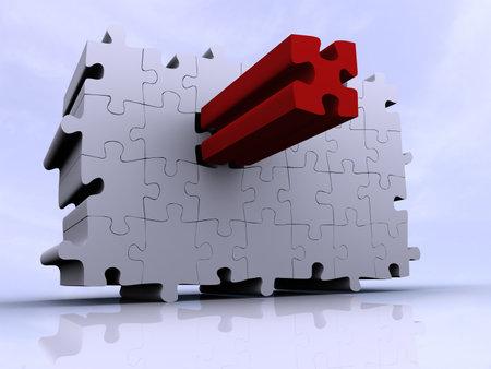 Dernier puzzle conceptuel de morceau - renderend dans 3d