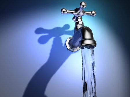 Conceptuelle robinet et l'eau qui coule - rendu en 3d  Banque d'images