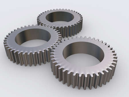 accurately: Three conceptual interlocked gears - rendered in 3d