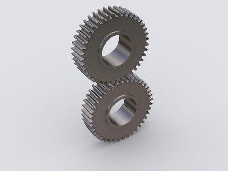 exactness: Two conceptual interlocked gears - rendered in 3d Stock Photo