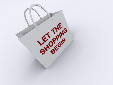 """empezar: Una bolsa de la compra con """"Vamos de compras comenzar"""" texto - dictada en 3D  Foto de archivo"""