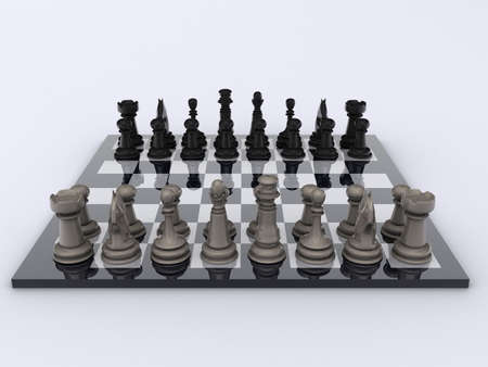 strategical: Chessboard with pieces in start position - rendered in 3d Stock Photo