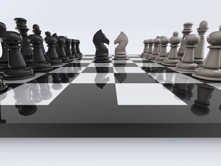 strategical: Chessboard with knights face to face - rendered in 3d