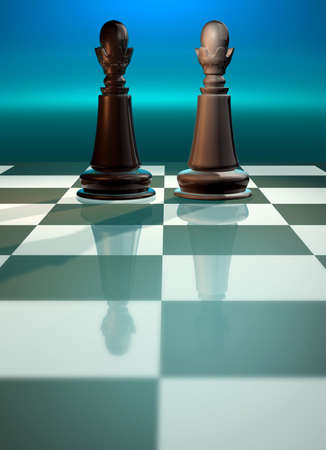 strategical: Chessboard with kings face to face - rendered in 3d Stock Photo