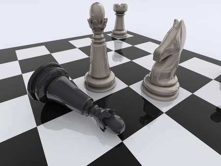 strategical: Fallen king near the the opponent king, knight, and castle - rendered in 3d Stock Photo