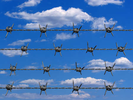 Conceptual barbed wire on clouded sky in background - 3d render Stock Photo - 1991895