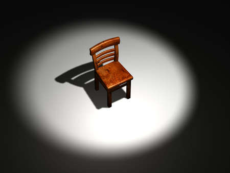 interpreter: Conceptual wooden chair on a spot light - rendered in 3d