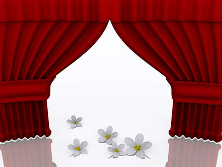 praised: Conceptual opened drapes with flowers on stage - 3d render