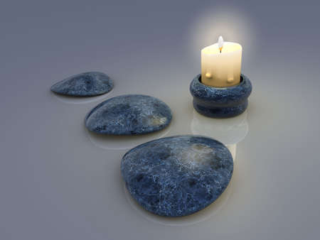 passionately: A light candle and three stones -renderend in 3d Stock Photo