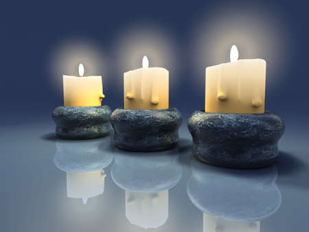 passionately:  Illustration of three light candles -renderend in 3d
