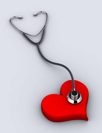 A conceptual stethoscope on heart - rendered in 3d Stock Photo - 1991694