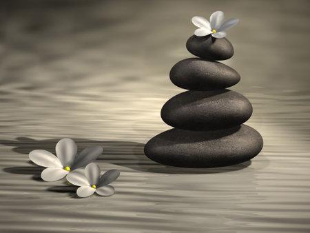puntualidad: Conceptual pila de piedras en el agua y el resumen flores blancas - 3d hacer Foto de archivo