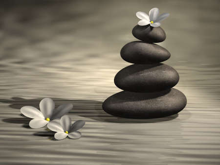advancing: Conceptual stack of stones on abstract water and white flowers - 3d render