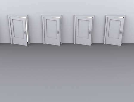 Conceptual four slightly opened door - rendered in 3d Stock Photo - 1991673