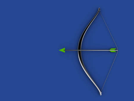 A silver bow and arrow on blue background - 3d render photo