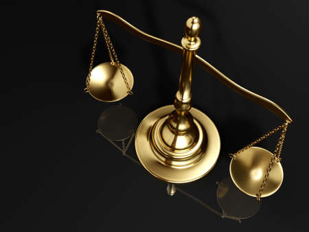 verdicts: A golden brass scale on black background - 3d render Stock Photo