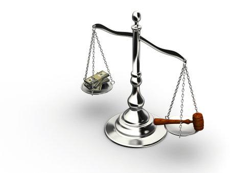 corrupcion: Brass escala con el dinero y la justicia martillo - 3d hacer  Foto de archivo