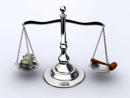 verdicts: Brass scale with money and justice hammer - 3d render Stock Photo