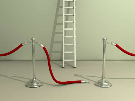 Open rope barrier and ladder - 3d render Stock Photo - 3150819
