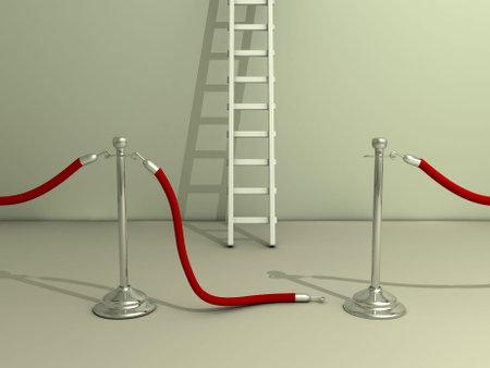 rope barrier: Open rope barrier and ladder - 3d render