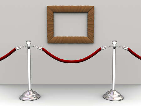 A red rope barrier and an empty picture frame - 3d render Stock Photo - 3150903