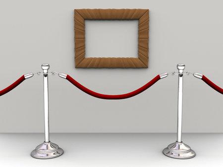Une corde rouge et d'une barri�re de vide cadre photo - 3d rendre