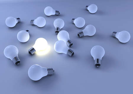 outstanding: Outstanding bright bulb among other blue bulbs - 3d render Stock Photo