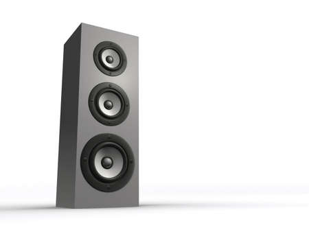 musically: An audio speaker on white background - rendered in 3d