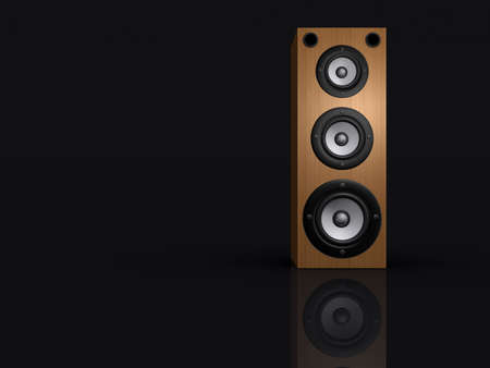 musically: An audio speaker on black background - rendered in 3d Stock Photo