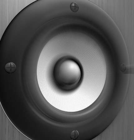 musically: Close up of a vibrating speaker - 3d render Stock Photo