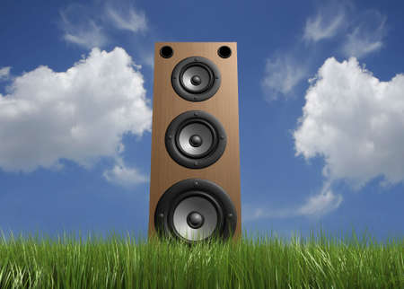 musically: A speaker in grass with cloudy sky in background - rendered in 3d Stock Photo