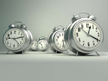 alarmed: Time passing concept - a lot of  alarm clock - rendered in 3d  Stock Photo